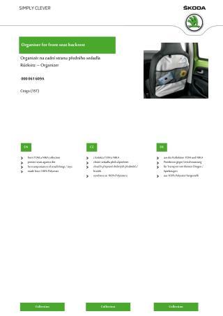 Organiser for front seat backrest