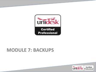Module  7 : Backups
