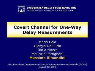 Covert Channel for One-Way Delay Measurements