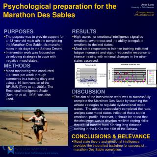 Psychological preparation for the Marathon Des Sables
