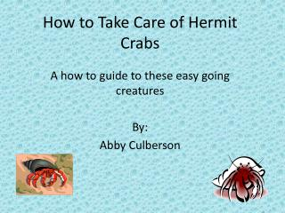 How to  T ake Care of  H ermit Crabs