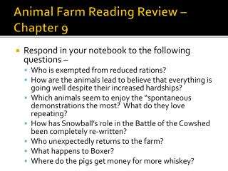 Animal Farm Reading Review – Chapter  9