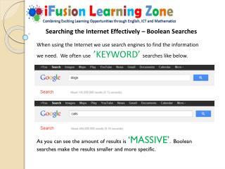 Searching the Internet Effectively – Boolean Searches