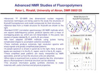 Advanced NMR Studies of Fluoropolymers Peter L.  Rinaldi , University  of  Akron, DMR 0905120