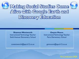 Making Social Studies Come Alive with Google Earth and Discovery Education