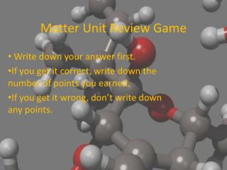 Matter Unit Review Game