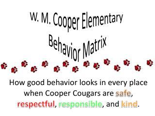 W. M. Cooper Elementary  Behavior Matrix
