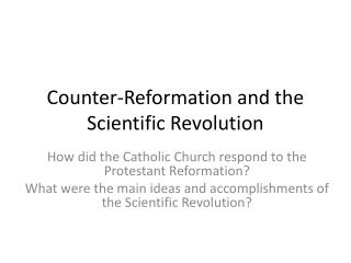 Counter-Reformation and the Scientific Revolution