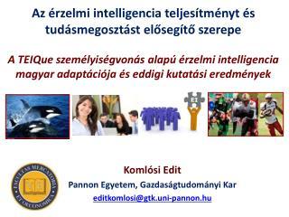 Komlósi  Edit Pannon Egyetem, Gazdaságtudományi Kar editkomlosi @ gtk.uni-pannon.hu