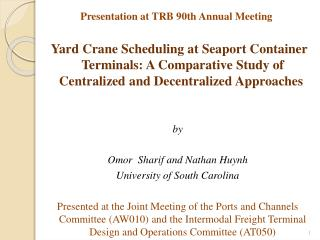 Presentation at TRB 90th Annual Meeting