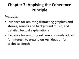 Chapter 7: Applying the Coherence Principle