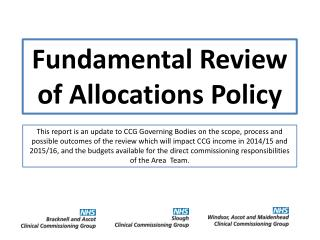 Fundamental Review of Allocations Policy