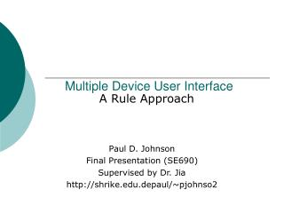 Multiple Device User Interface