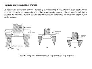 Fig. H-1.  Holguras: (a) Adecuada; (b) Muy grande; (c) Muy pequeña.