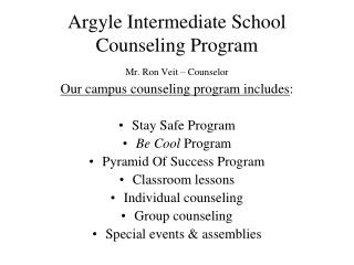 Argyle Intermediate School Counseling Program