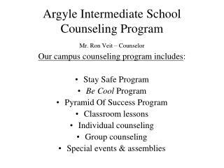 Argyle Intermediate School Counseling Program