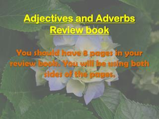 Adjectives and Adverbs  Review book