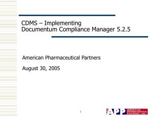 CDMS   Implementing Documentum Compliance Manager 5.2.5