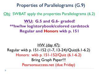 Properties of Parallelograms (G.9)