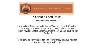 Canned Food Drive Now through March 9 th
