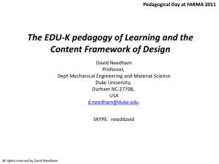 The EDU-K pedagogy of Learning and the Content Framework of  Design
