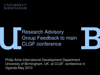 Research Advisory Group Feedback to main CLGF conference