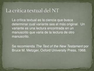 La cr ítica textual del NT
