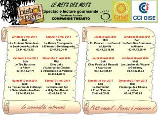 LE METS DES MOTS Spectacle lecture gourmande Deuxi�me  tourn�e COMPAGNIE THEARTO