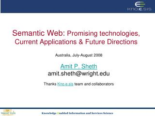 Semantic Web:  Promising technologies, Current Applications & Future Directions