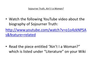 Sojourner Truth,  Ain't  I a Woman?