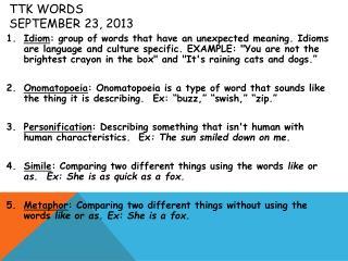 TTK  Words September 23, 2013