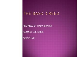 THE BASIC CREED