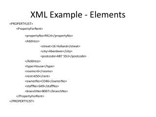 XML  Example - Elements