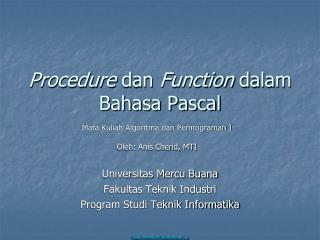 Procedure  dan  Function  dalam Bahasa Pascal