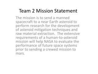Team 2 Mission Statement