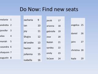 Do Now: Find new seats