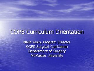 CORE Curriculum Orientation
