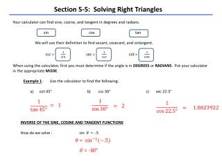 Section 5-5:  Solving Right Triangles