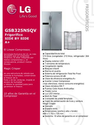 GSB325NSQV Frigorífico SIDE BY  SIDE A+