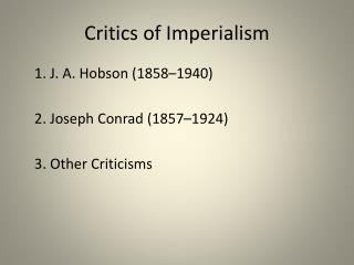 Critics of Imperialism