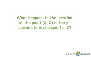 What happens to the location of the point (3 , 2 ) if the y-coordinate is changed to -2?
