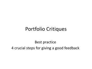 Portfolio Critiques