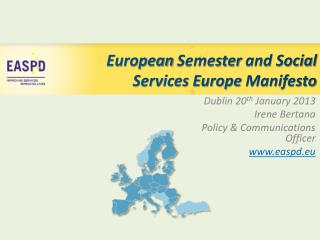 European Semester  and Social Services Europe  Manifesto