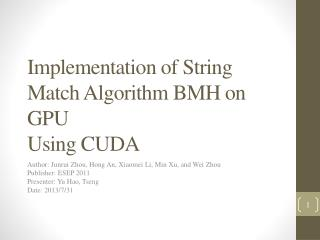 Implementation of String Match Algorithm BMH on GPU Using CUDA