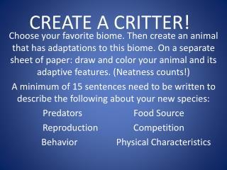 CREATE A CRITTER!