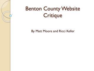 Benton County Website Critique