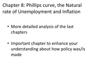 Chapter  8: Phillips curve, the Natural  rate of  Unemployment and Inflation