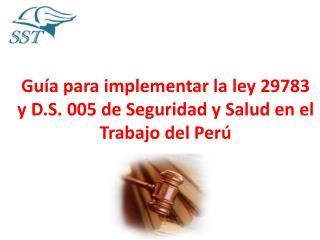 Guía para implementar la ley 29783 y  D.S . 005 de Seguridad y Salud en el Trabajo del Perú