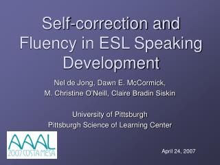 Self-correction and Fluency in ESL Speaking Development