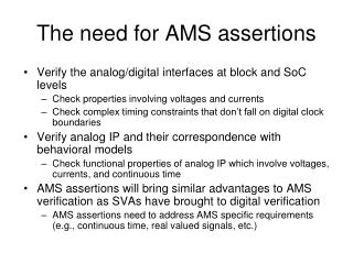 The need for AMS assertions
